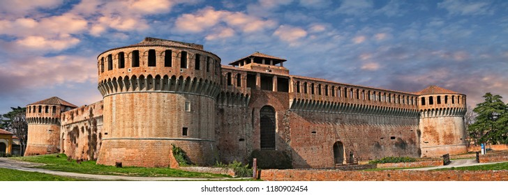 Imola, Bologna, Emilia Romagna, Italy: the ancient castle Rocca Sforzesca at sunset, famous old italian fortress (14th century), medieval landmark