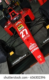 Imola, IT, May, 2017: Unknown run with Historic Ferrari 643 F1-91 1991 during Minardi Historic Day 2017 into the Imola Circuit in italy.