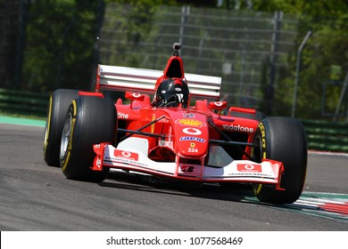 IMOLA, Italy - 20 April 2018: unknown run with 2002 Ferrari F1 F2002 ex Michael Schumacher and Rubens Barrichello during Motor Legend Festival 2018 at Imola circuit in italy.