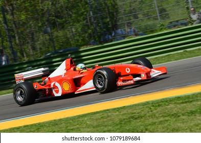 IMOLA, Italy - 20 April 2018: unknown run with 2002 Ferrari F1 F2002 ex Michael Schumacher and Rubens Barrichello during Motor Legend Festival 2018 at Imola circuit in italy.