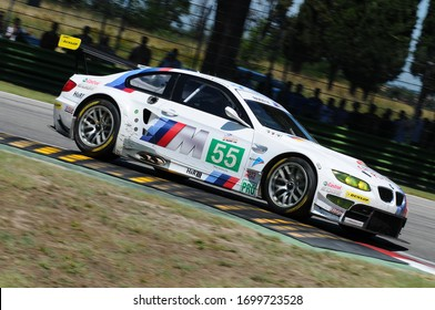Imola, Italy 3 July 2011: BMW M3 E92 GT GTE Pro of Team BMW Motorsport driven by Müller and Farfus in action during Race 6H ILMC at Imola Circuit.