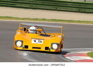 Imola Italy - 8 June 2012: LOLA T 290 BDG 1973 driven by M. BAUDOIN during practice session on Imola Circuit at the event Imola Classic Festival 2012, Italy.