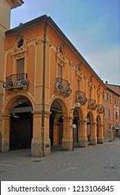 IMOLA, ITALY – JUNE 5, 2018: municipal  pharmacy hospital Santa Maria della Scaletta built in 1762. Famous building along the old Emilia street.