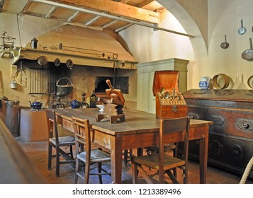 IMOLA, ITALY – JUNE 5, 2018: antique medieval house kitchen. Heritage of the city.