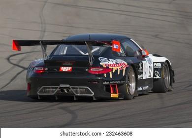 Imola, Italy - October 11, 2014: A Porsche 997 Gt3 of Krypton Motorsport team, driven By Pezzucchi Stefano (Ita) and Bianco Riccardo (Ita),  the C.I. Gran Turismo car racing