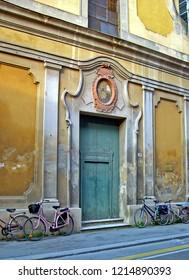 Imola, Italy,  San Giacomo Maggiore church main door along the old Emilia street.