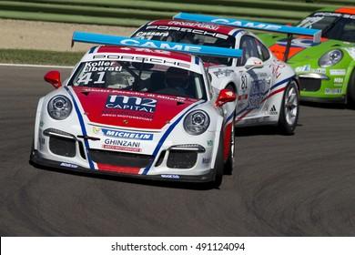 Imola, Italy - September 25, 2016: A Porsche 911 Gt3 Cup of Ghinzani Arco Motorsport team, driven By Koller Hans-Peter and Liberati Edoardo,  the Porsche Carrera Cup Italia car racing