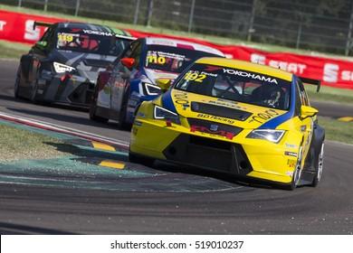 Imola, Italy - September 25, 2016: A Seat Leon Cup Racer, driven by Fedeli Carlotta,  the Seat Leon Cup in Autodromo Enzo & Dino Ferrari , in Imola, Italy.