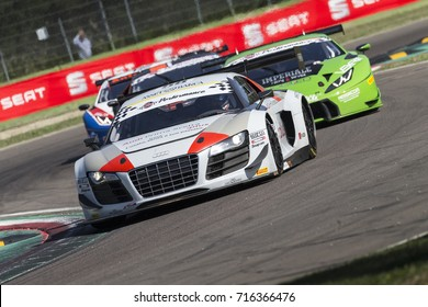 Imola, Italy - September 25, 2016: A Audi R8 Lms of Audi Sport Italia Team, driven by RUSSO Matias Enrique and ZONZINI Emanuele,  the C.I. Gran Turismo Super GT3-GT3 in Autodromo Enzo & Dino Ferrari
