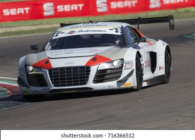 Imola, Italy - September 25, 2016: A Audi R8 Lms of Audi Sport Italia Team, driven by RUSSO Matias Enrique and ZONZINI Emanuele,  the C.I. Gran Turismo Super GT3-GT3 in Autodromo Enzo & Dino Ferrari