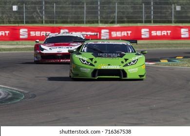 Imola, Italy - September 25, 2016: A Lamborghini Huracan of Imperiale Racing Team, driven by VENTURINI Giovanni,  the C.I. Gran Turismo Super GT3-GT3 in Autodromo Enzo & Dino Ferrari , in Imola, Italy