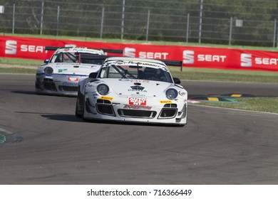 Imola, Italy - September 25, 2016:A Porsche 911 GT3 R of KRYPTON MOTORSPORT Team, driven by PASTORELLI Luca and PASTORELLI Nicola,  the C.I. Gran Turismo Super GT3-GT3 in Autodromo Enzo & Dino Ferrari