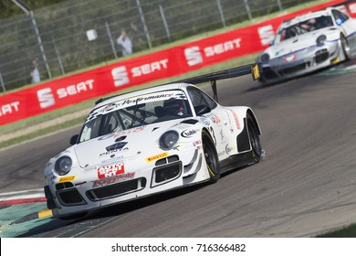Imola, Italy - September 25, 2016:A Porsche 911 GT3 R of KRYPTON MOTORSPORT Team, driven by PASTORELLI Luca and PASTORELLI Nicola,  the C.I. Gran Turismo Super GT3-GT3 in Autodromo Enzo & Dino Ferrari