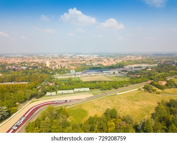 Imola, Italy - September 27, 2017: Aerial view of the Enzo and Dino Ferrari racing cars in Imola. The circuit is 4,909 meters long.