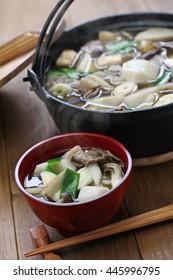 imoni, japanese hotpot cooking, taro potato and beef