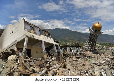 the impact of the earthquake and tsunami in Palu, Sigi and Donggala 2018.