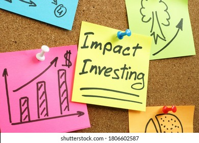 Impact investing words with charts on the wall.