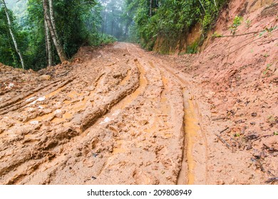 impassable forest road of mud and clay, offroad in Chiang Mai, north Thailand.