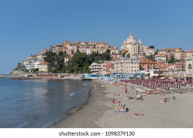 Imperia, Italy - May 20, 2018: Italian Riviera. Seafront at the tourist resort town Imperia
