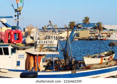 IMPERIA, ITALY - May 3, 2018: Fishing boats in the harbour of Imperia, Liguria