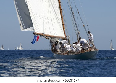 IMPERIA, ITALY - SEPT 11:Ancient sailing boats before a regatta at the Panerai Classic Yachts Challenge on Sept 11, 2010 in Imperia, Italy. The event starts from 8-12 Sept, 2010.