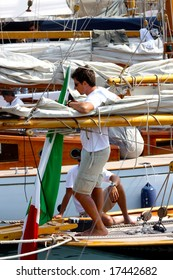 IMPERIA, ITALY - SEPTEMBER 14, 2008: The 15th Vele dâ Epoca di Imperia and Panerai Classic Yachts Challenge took place in Imperia, Italy, from 10th to 14th September 2008.
