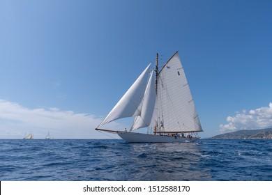 Imperia, Italy - September 7, 2019: Moonbeam IV classic sail yacht, built in 1914 by William Fife Junior in Scotland, during regata in Gulf of Imperia