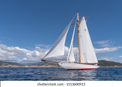 Imperia, Italy - September 7, 2019: Moonbeam IV classic sail yacht, built in 1914 by William Fife Junior in Scotland, during regatta in Gulf of Imperia