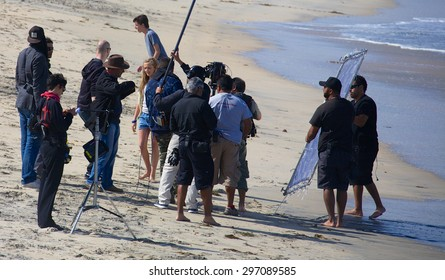 IMPERIAL BEACH, CALIFORNIA - June 3, 2015: Actress Lia Marie Johnson and a film crew filming at Imperial Beach outside San Diego for the movie Ruta Madre.