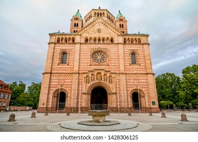 the Imperial Cathedral of Speyer at sunset, Germany