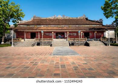 Imperial Citadel Hue city, Vietnam - July 4, 2018: Tourists visit Hue Imperial Citadel. Hue Imperial Citadel is world cultural heritage in Hue city of Vietnam