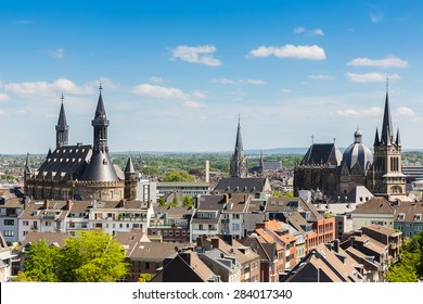 Imperial City of Aachen with cathedral and town hall, germany