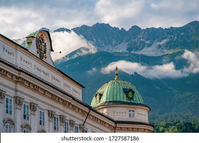 Imperial Palace (Hofburg) in Innsbruck, Austria. Nordkette mountain range with Seegrube and Hafelekar cablecar stations.
