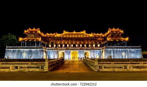 Imperial Palace at night, Hue, Vietnam