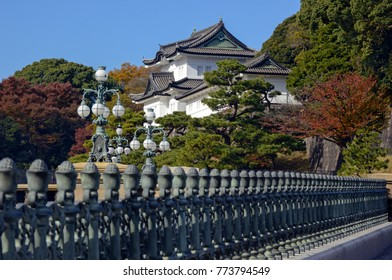 Imperial Palace in Tokyo with Nijubashi Bridge, the residence of the Emperor of Japan and built on site of Edo Castle surrounded by bonsai trees and Japanese gardens