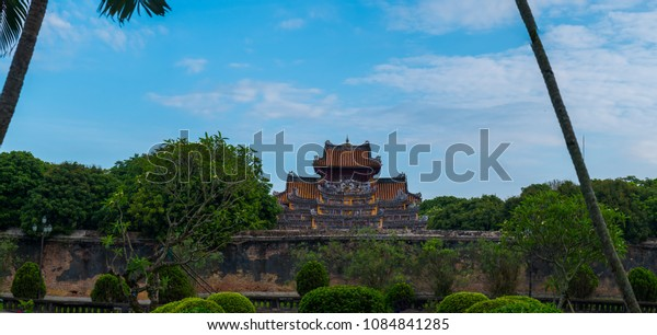 Imperial Royal Palace of Nguyen dynasty in Hue, Vietnam. Hue  is one of the most popular destinations in Vietnam. HUE - VIET NAM , DATE 30/4/2018