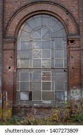 The Imperial Shipyard Trail - high window of abandoned destroyed hall.  The Imperial Shipyard Trail,  Gdansk Shipyard, Poland