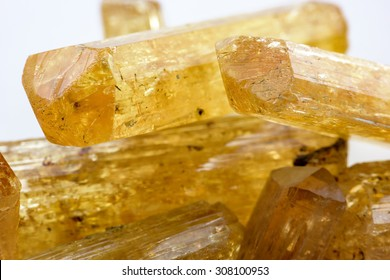 Imperial topaz crystals with their colors and feature natural formation