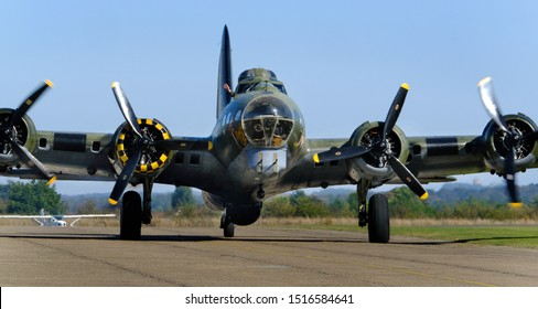 Imperial War Museum. Duxford, Cambridgeshire, UK. 2019 Battle of Britain air show. Boeing B17G 'Sally B' The only flying example in Europe.