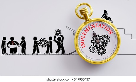 """Implementation"" words on pocket watch with workers doodles carry on cog and read plan to fix it on white background - business, time and finance concept"