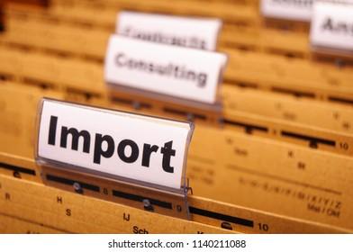 import word on business office folder showing internation trade or globalisation concept