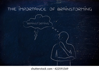 the importance of brainstorming: thoughful man with brainstorming thought bubble with lightning bolt
