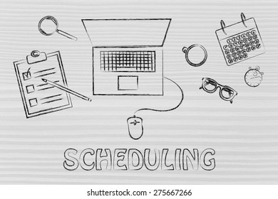 the importance of scheduling: laptop, calendar, stopwatch and to do list