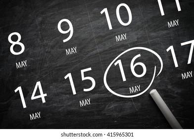 Important Appointment: May 16 written on blackboard