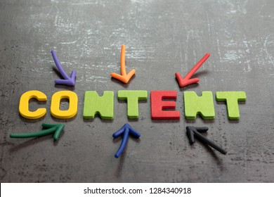 Important of content in advertising and communication concept, colorful arrows pointing to the word CONTENT at the center on black cement wall, creativity of using content on website and social media.
