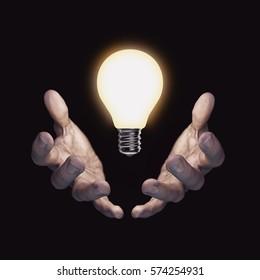 Important idea bulb / 3D illustration of hands cradling glowing light bulb