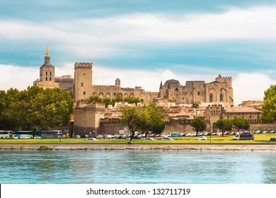 Important medieval city of Avignon, situated on the left bank of the Rhone river. Provence, France, Europe.  It was the seat of the Papacy from 1309 until 1377 in the time of Pope Clement V.