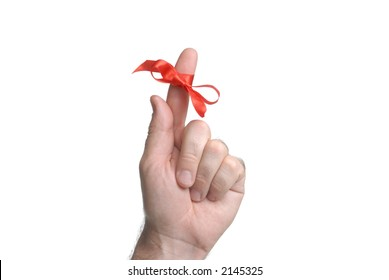 important remember ribbon tied on finger as reminder close up