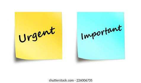 Important and urgent words on stick notes isolated on white background