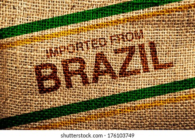 Imported from Brazil printed on Jute canvas texture, natural coffee sack texture.